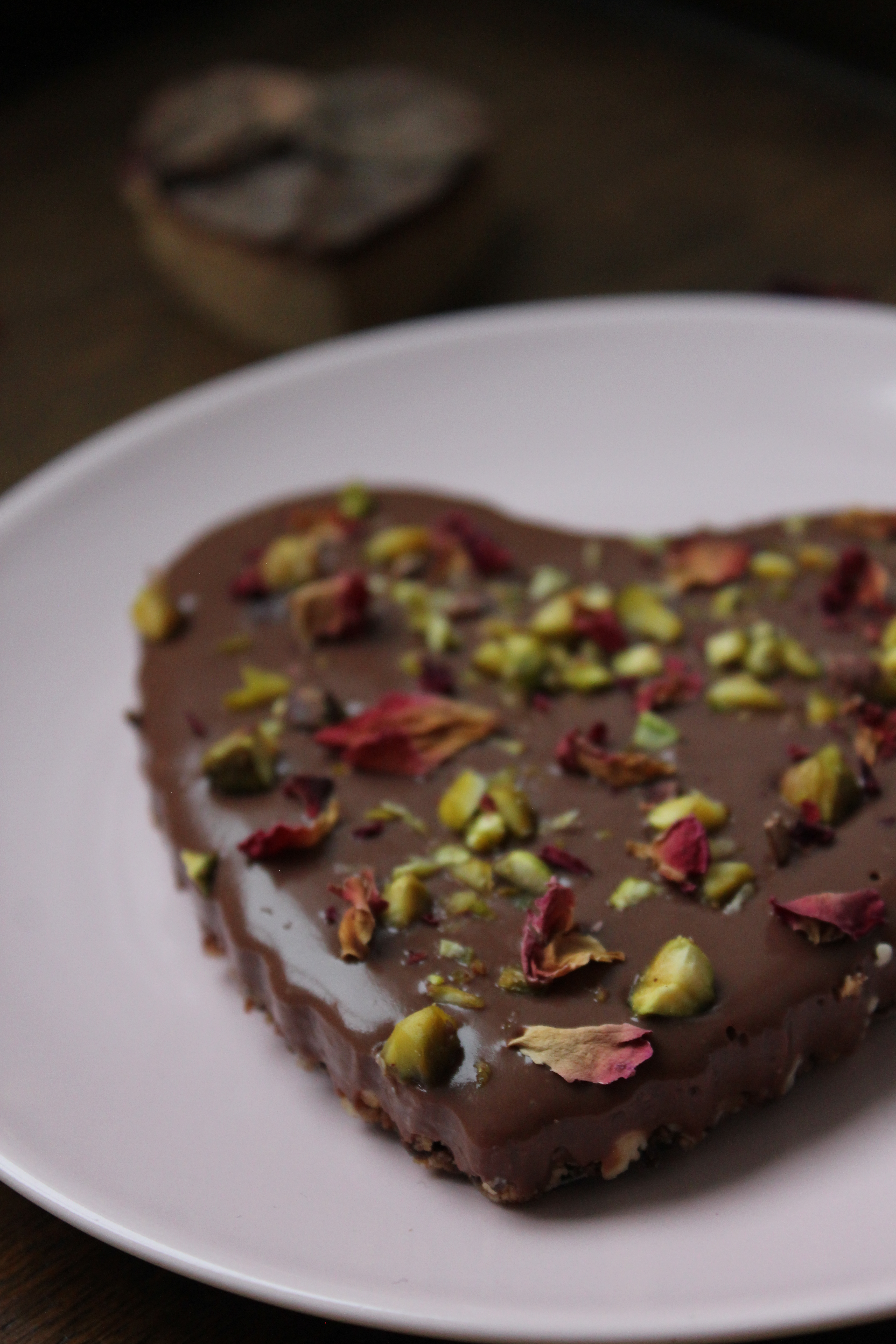 Rose, Cardamom and Pistachio Chocolate Tarts