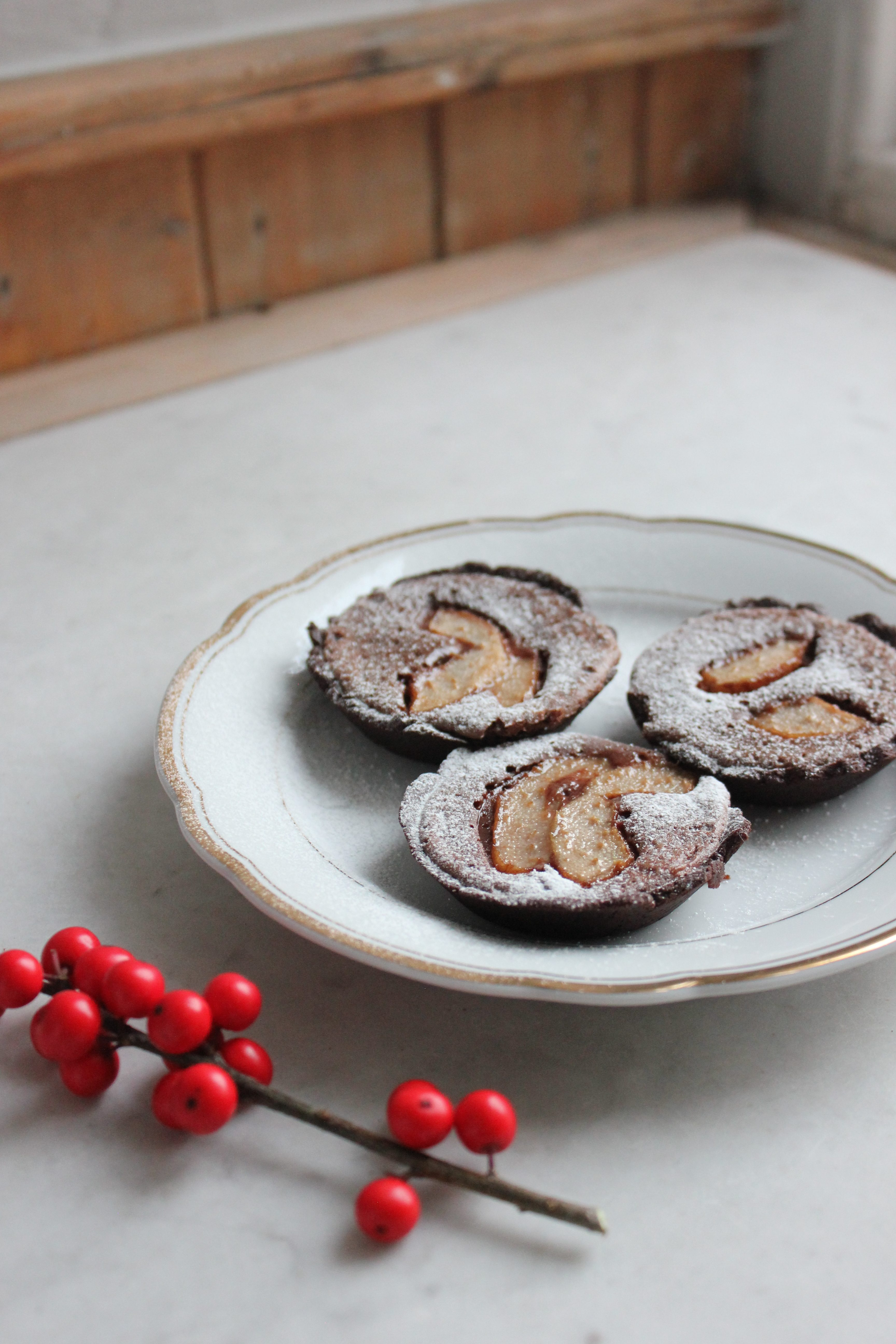 Chocolate and Pear Tartlets