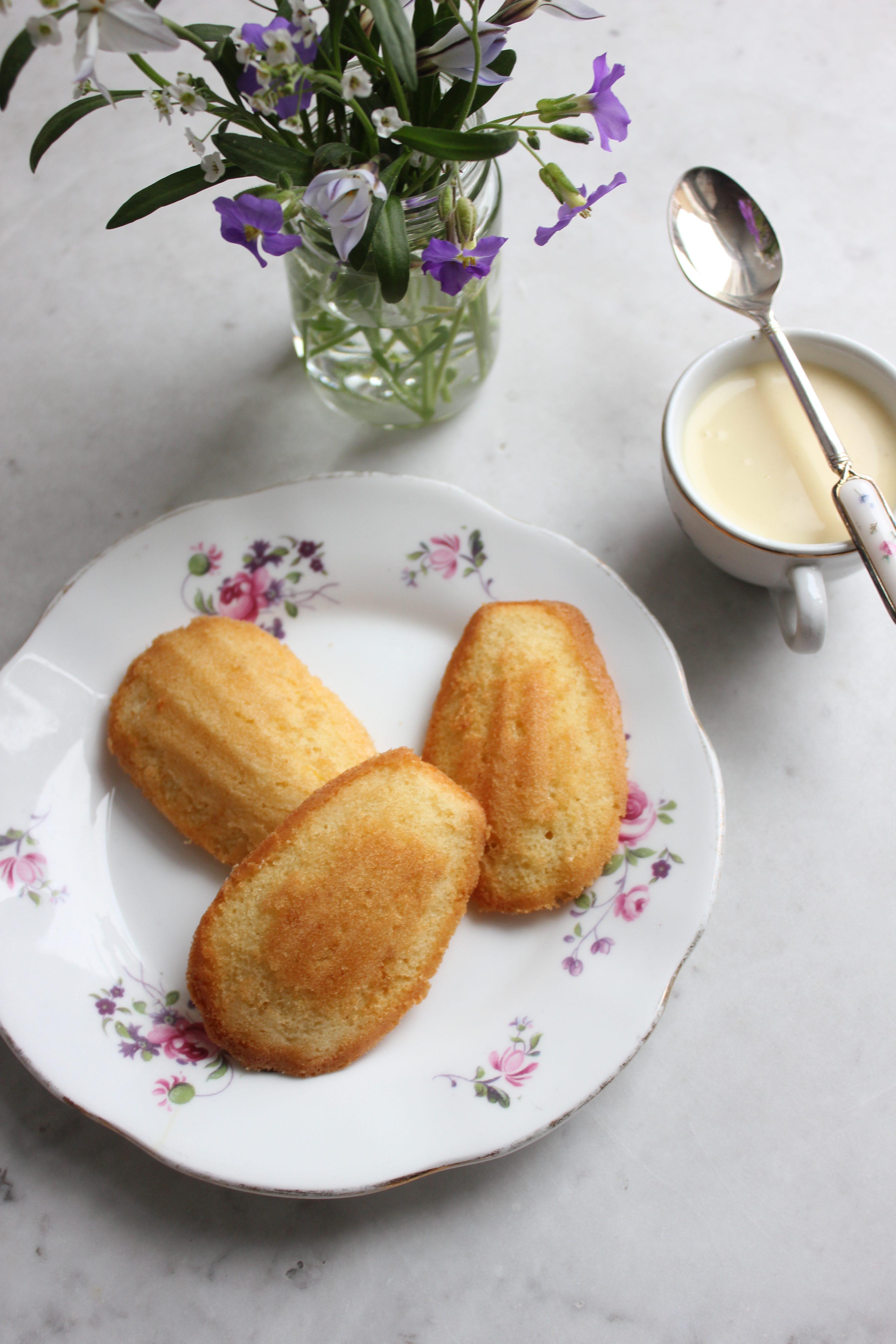 Madeleines with White Chocolate & Elderflower