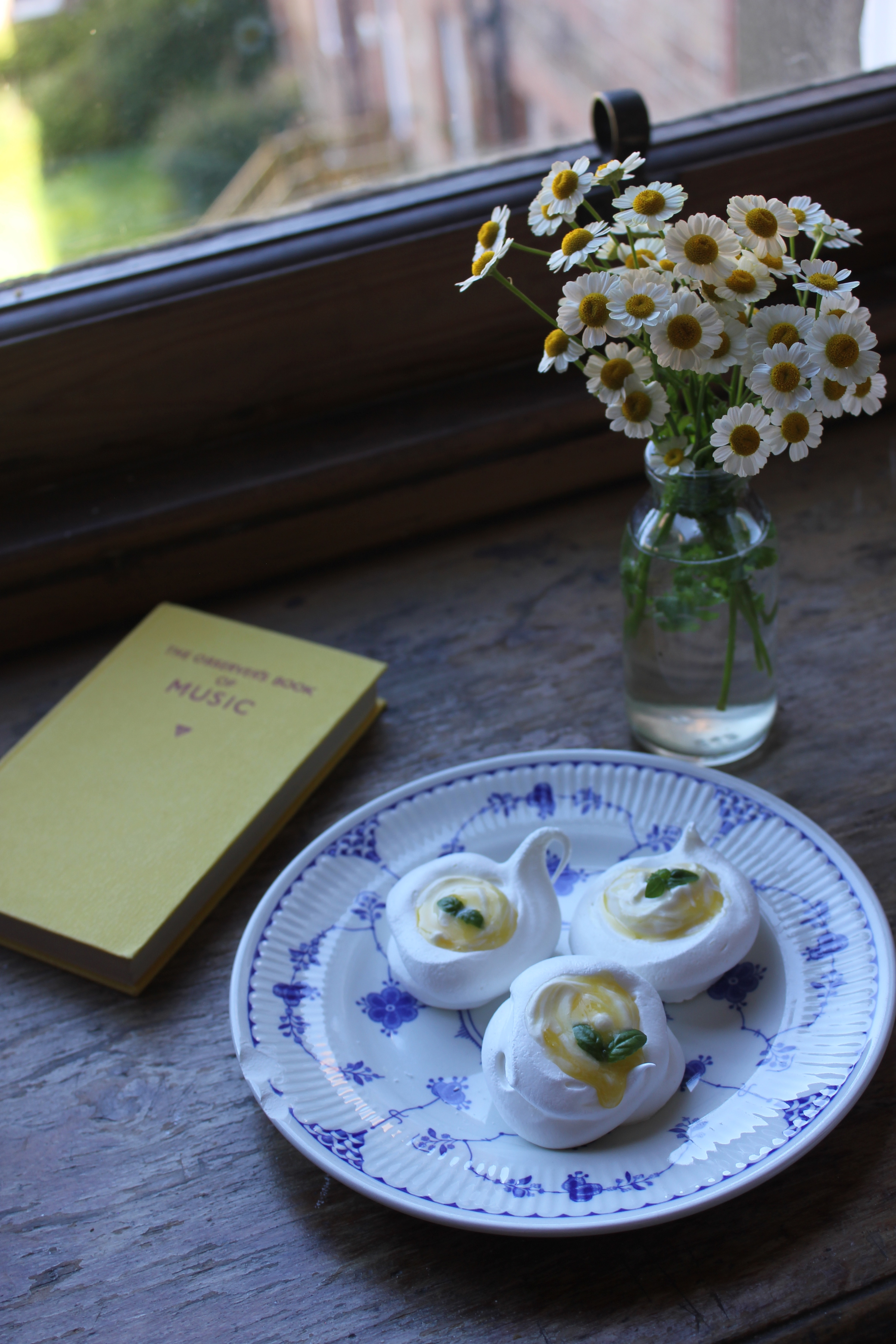 Mini Pavlovas with Lemon and Basil Curd