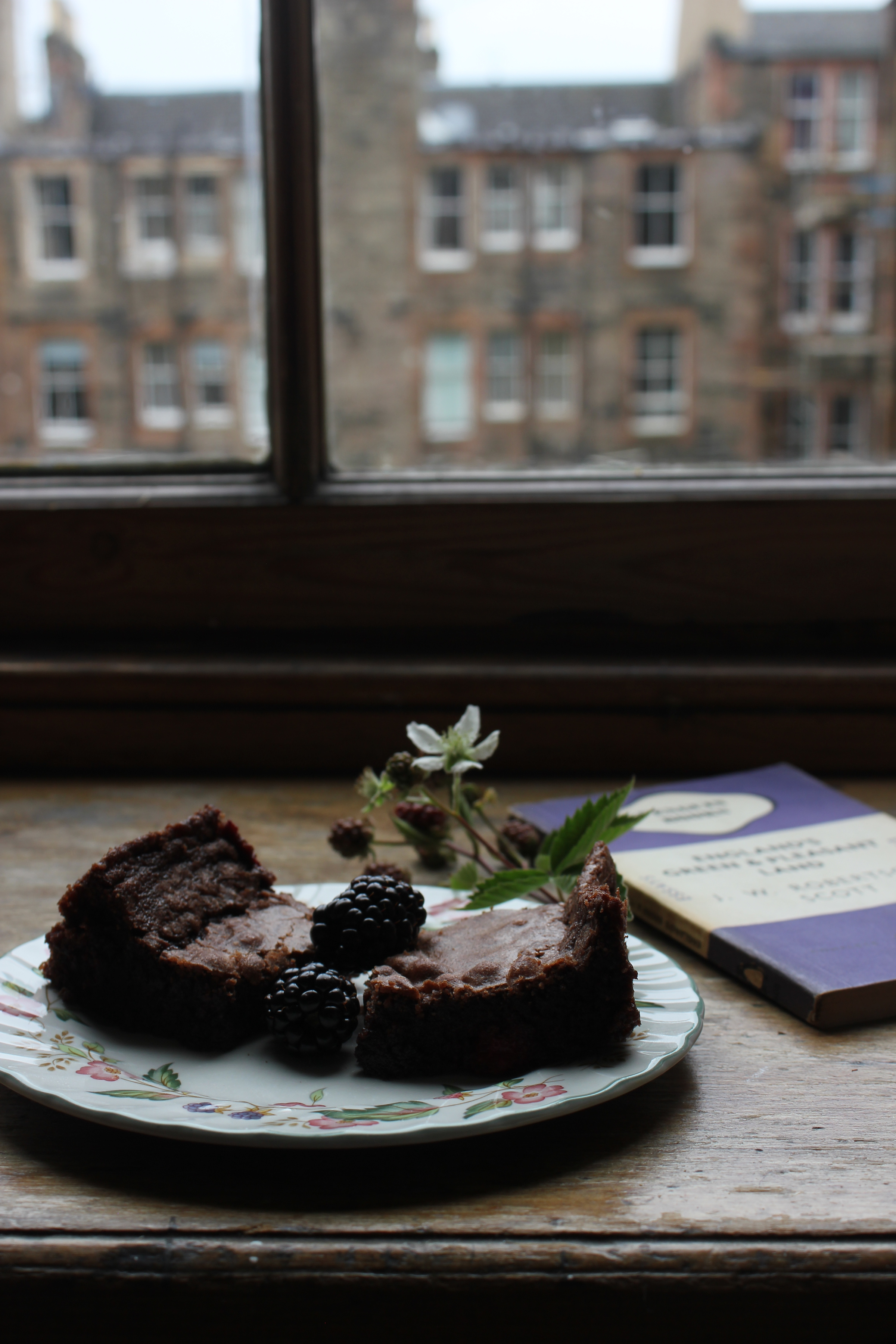 Blackberry and cardamom brownies