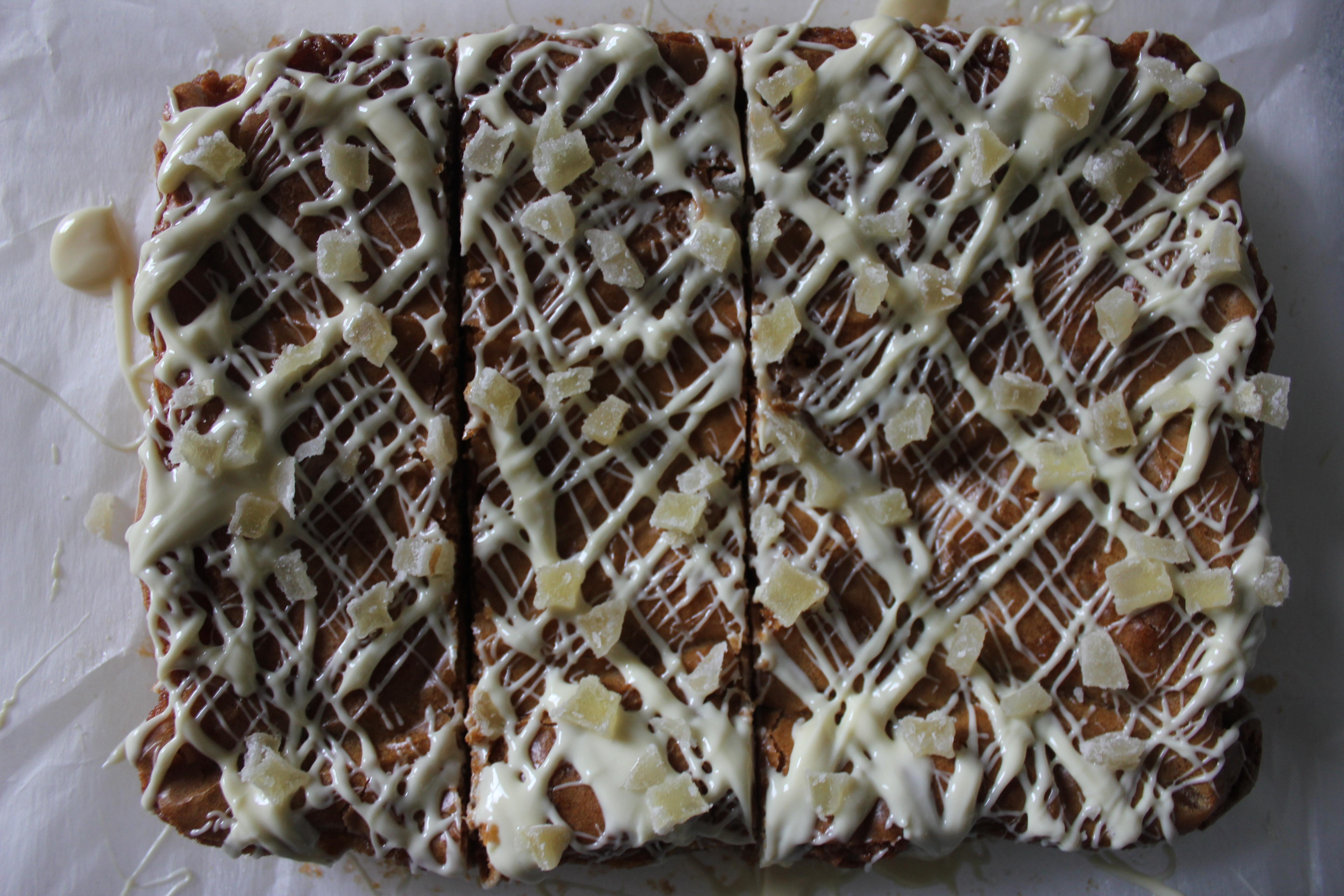 Ginger White Chocolate Blondies