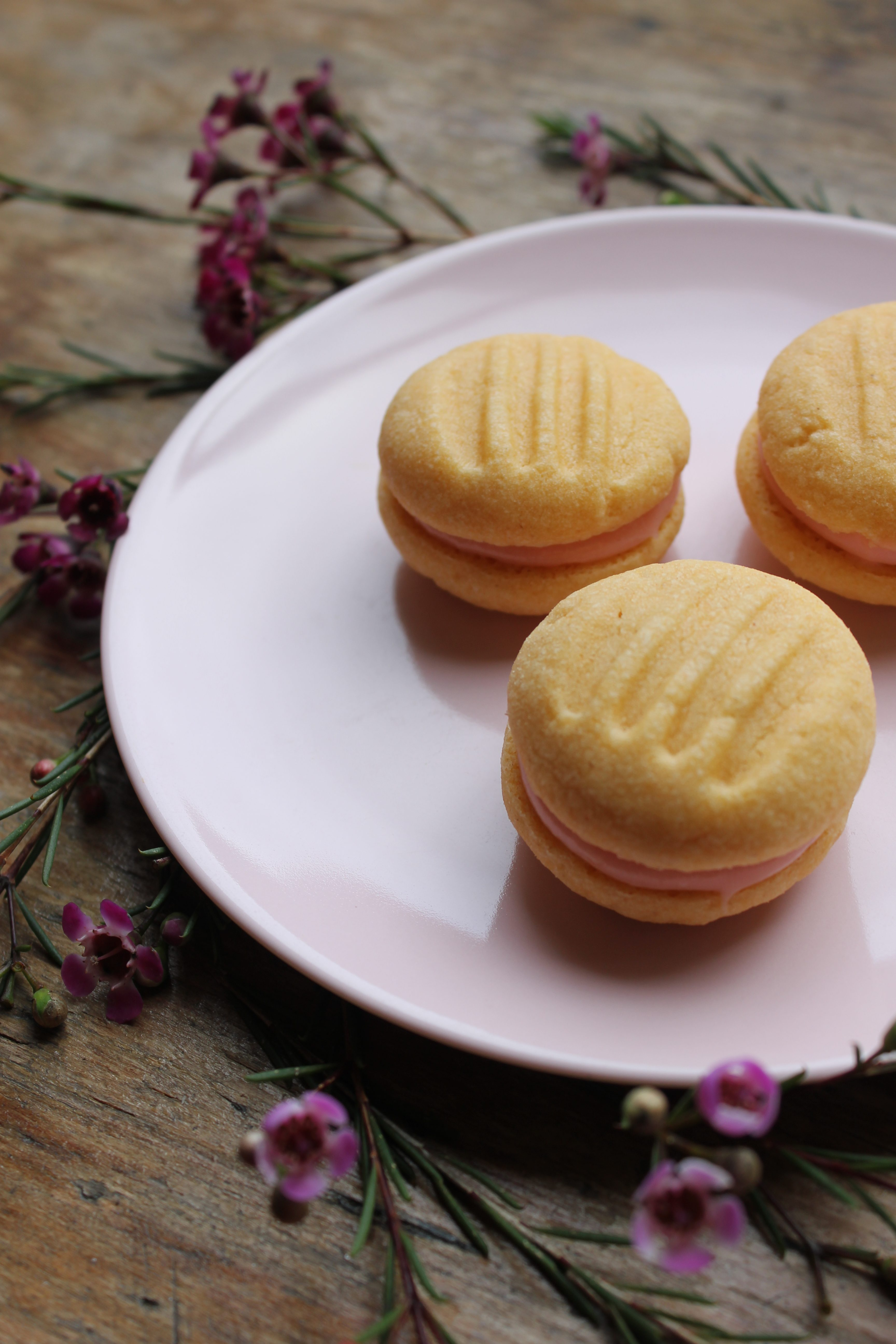 Custard Yo-yos with Roasted Rhubarb Icing