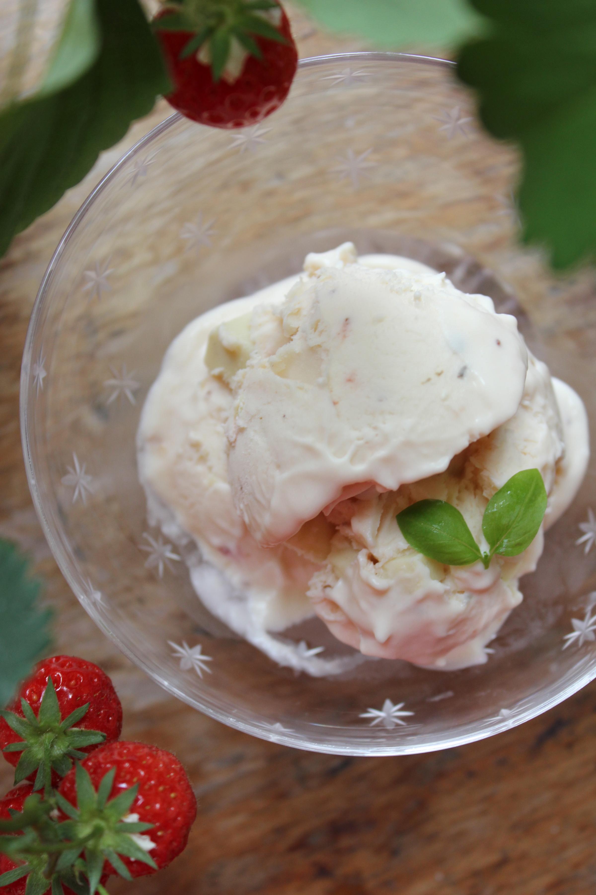 Strawberry, White Chocolate and Basil No-Churn Ice Cream