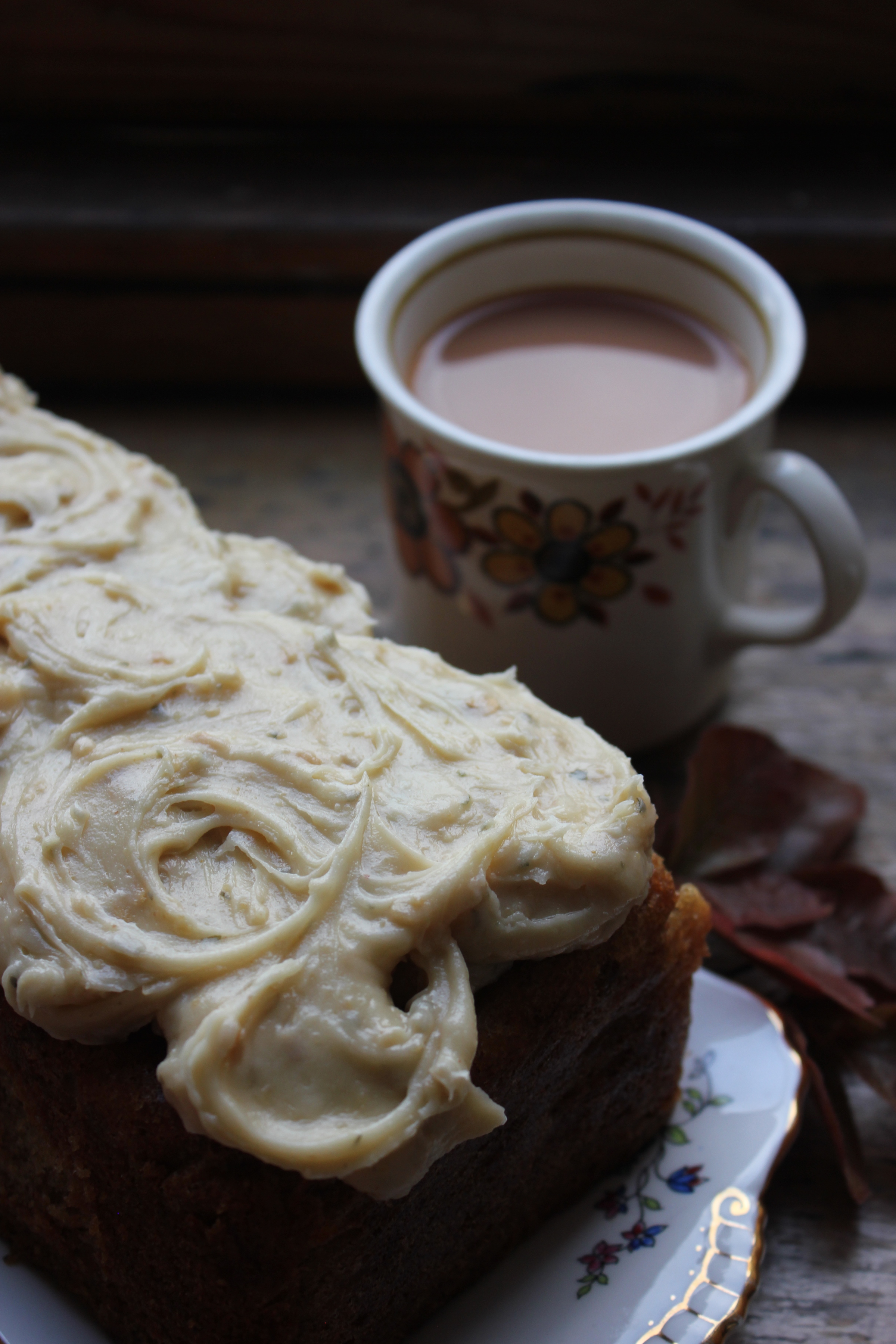 Banana Loaf with Peanut Butter Frosting