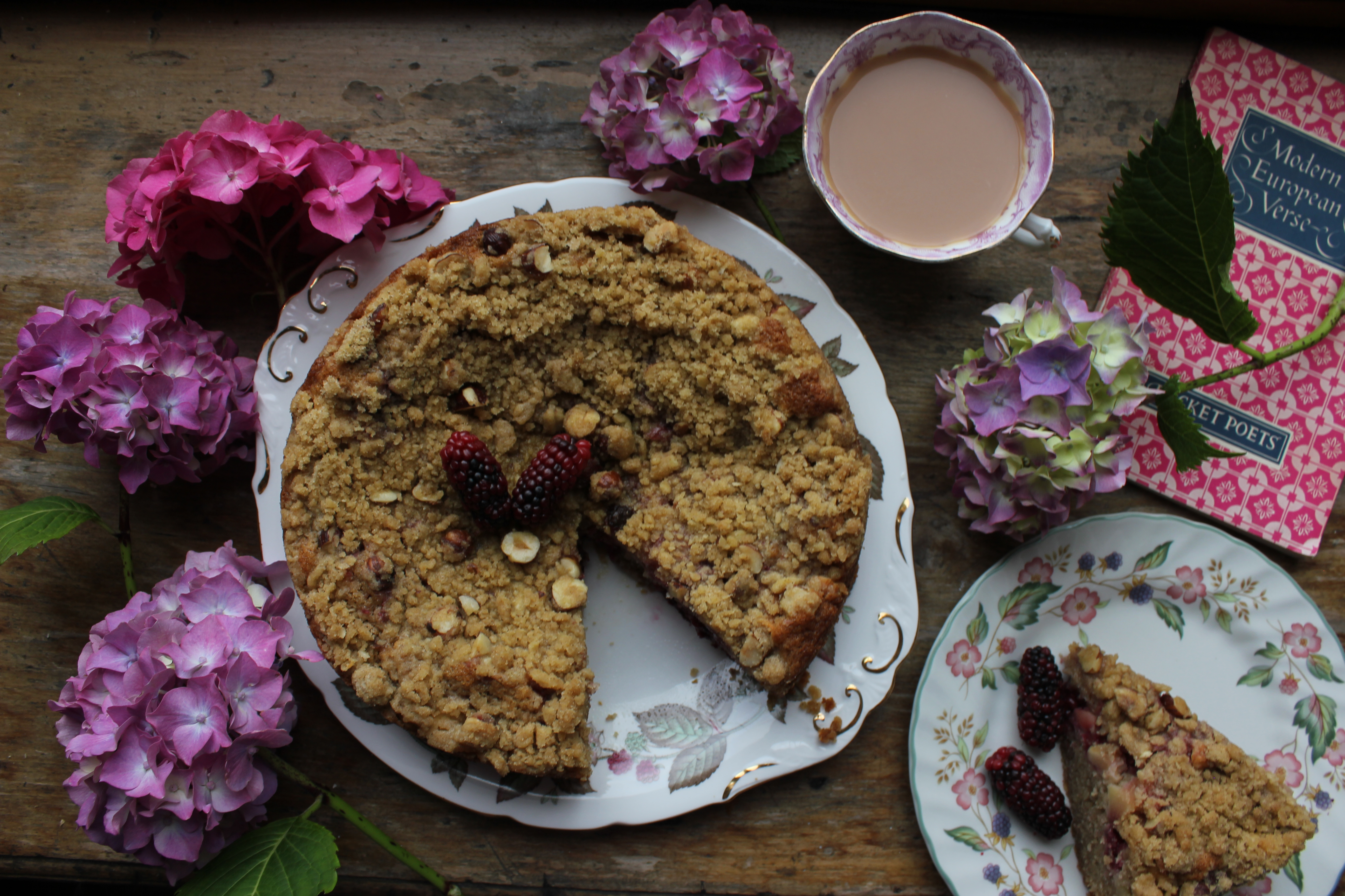Blackberry, apple and cobnut crumble cake
