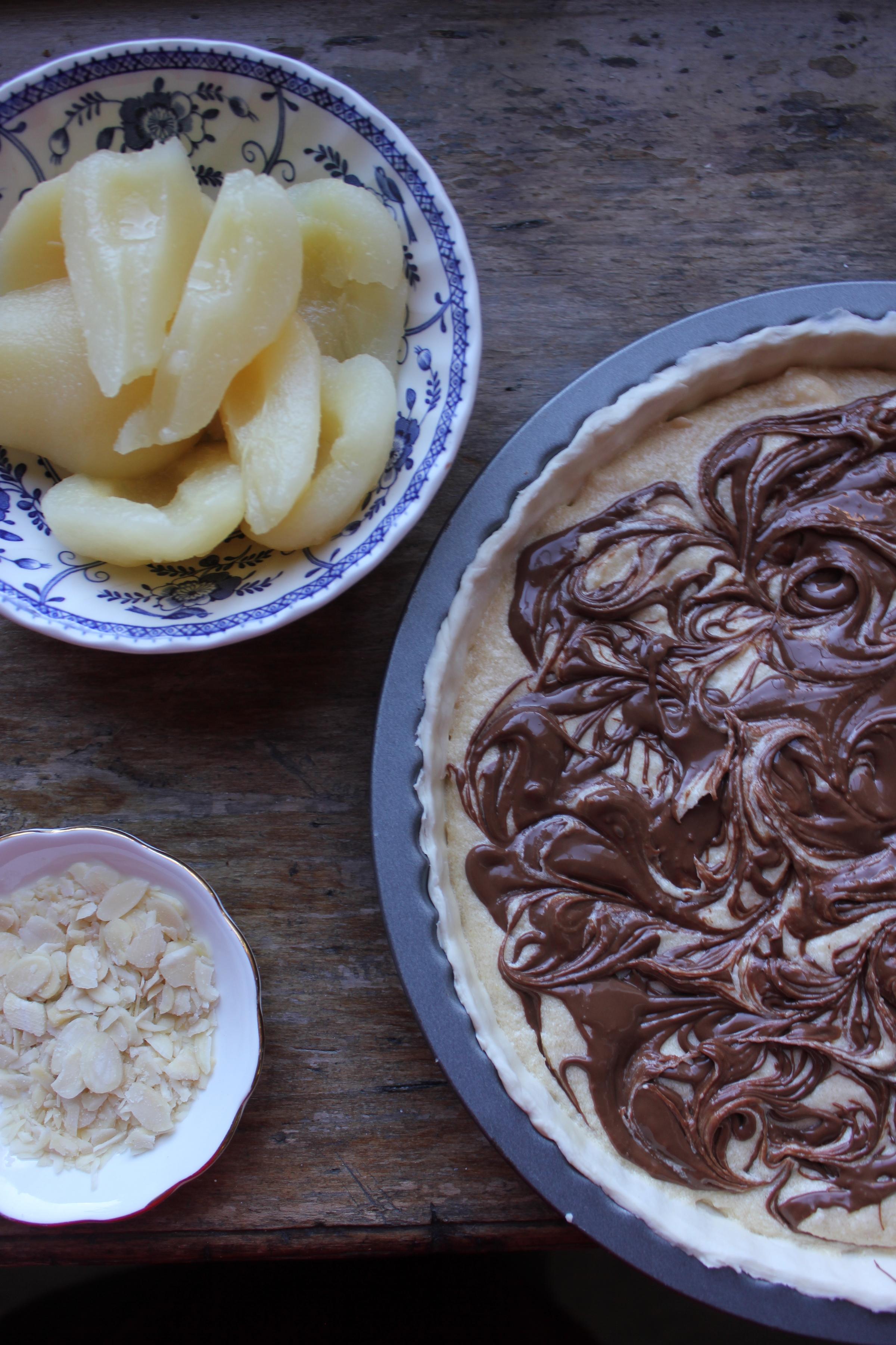 Pear Chocolate Frangipane Tart