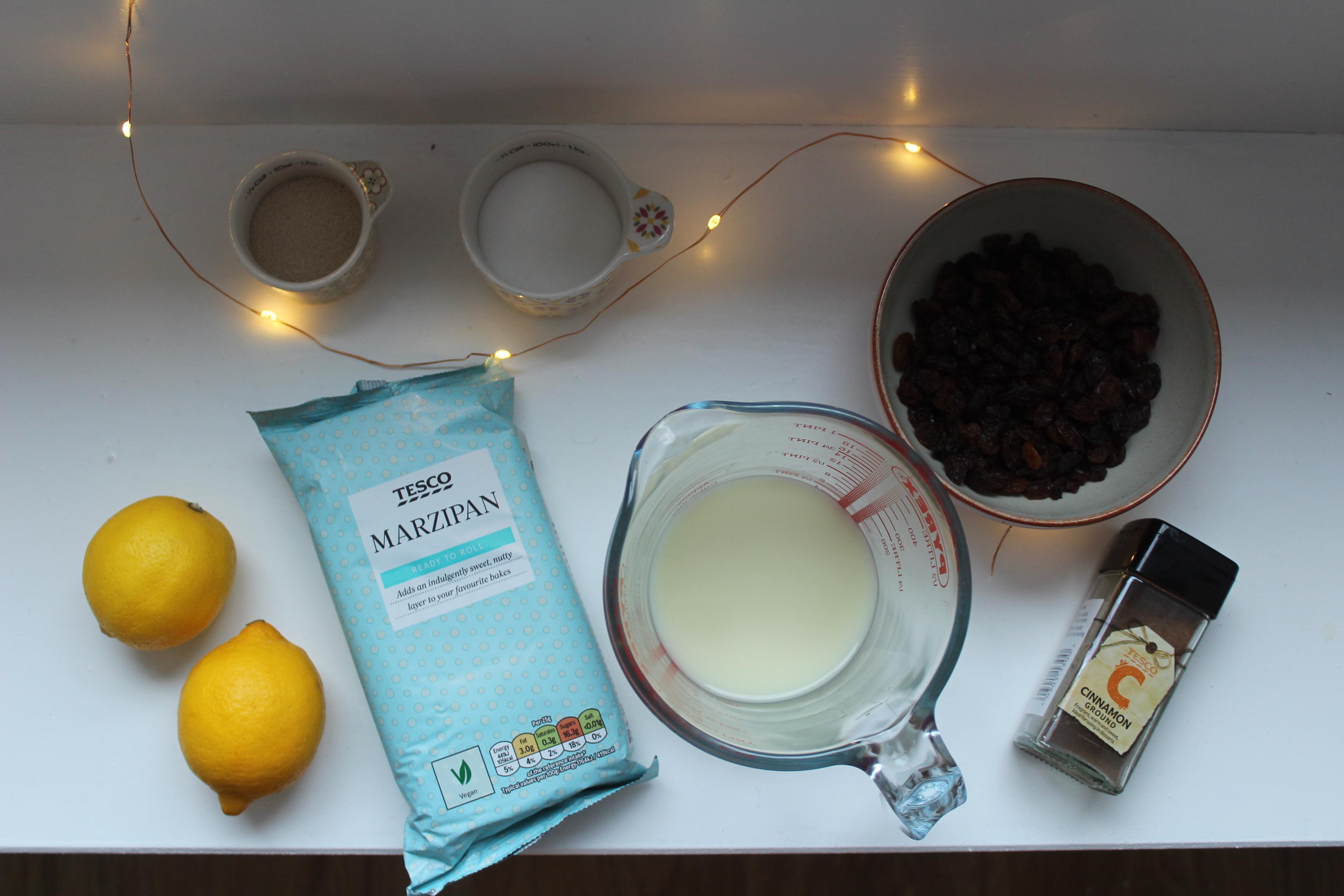 Vegan Lemon and Marzipan Hot Cross Buns
