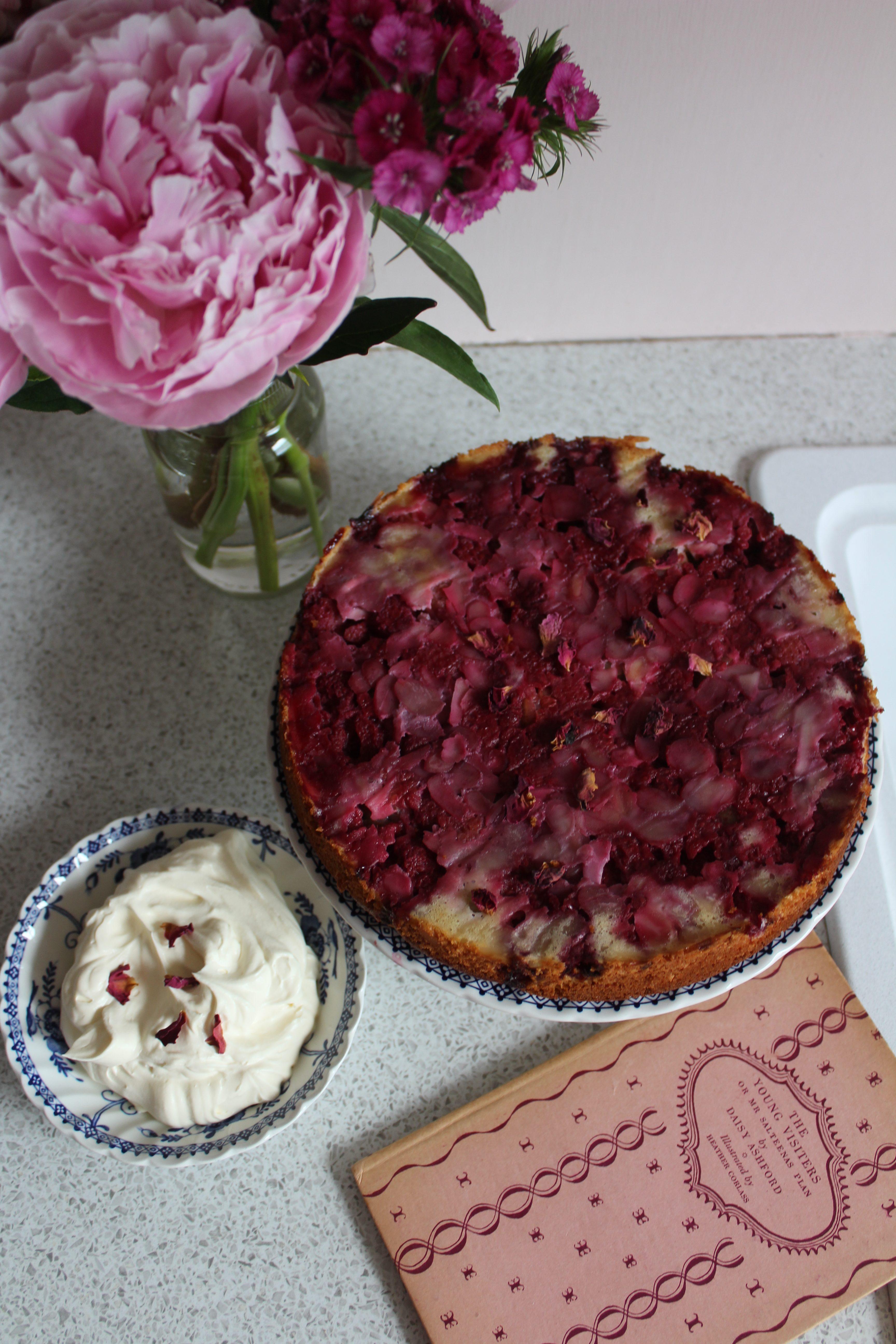 Gooseberry and Raspberry Upside-down Cake