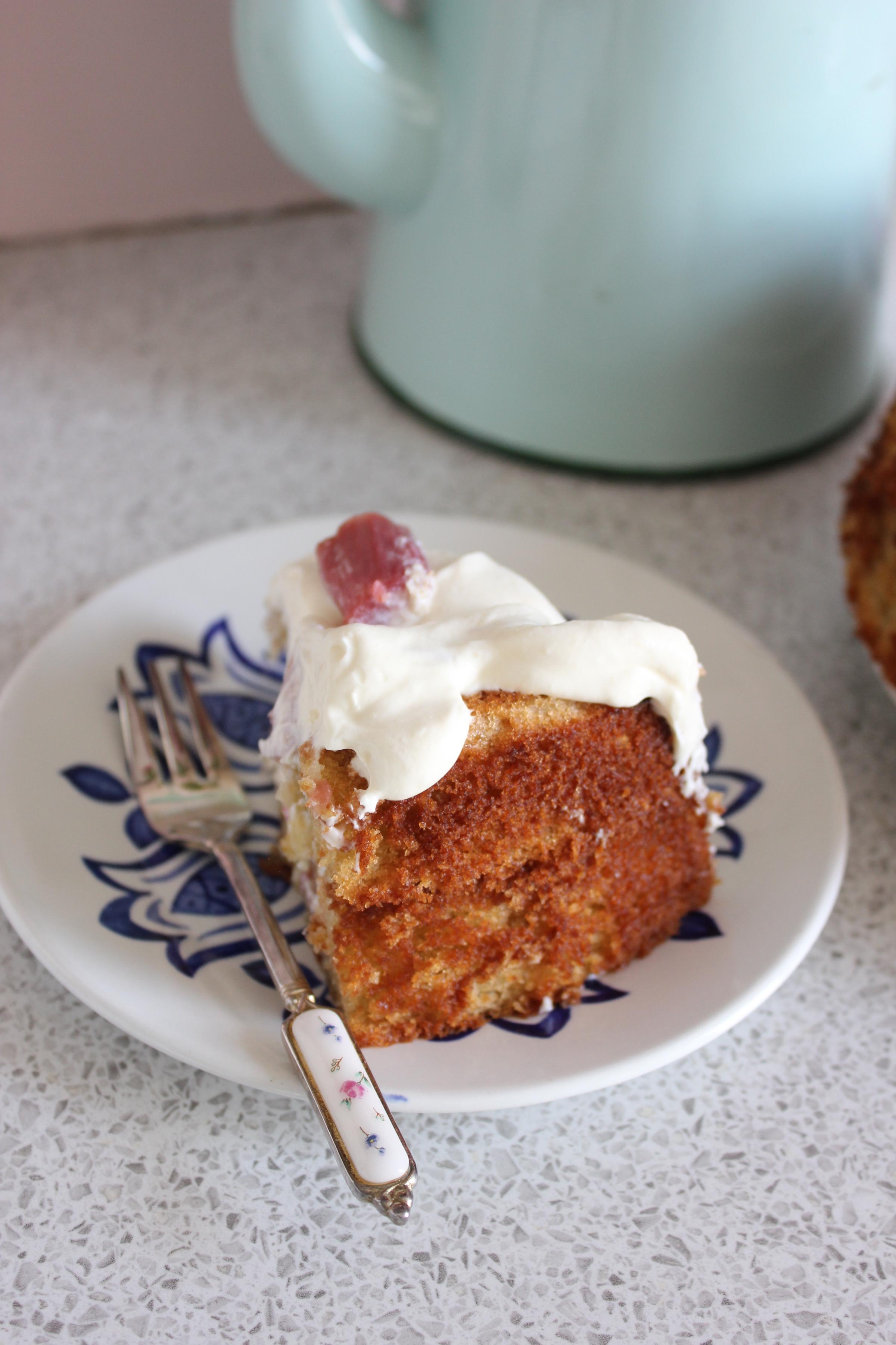 Rhubarb and Elderflower Cake