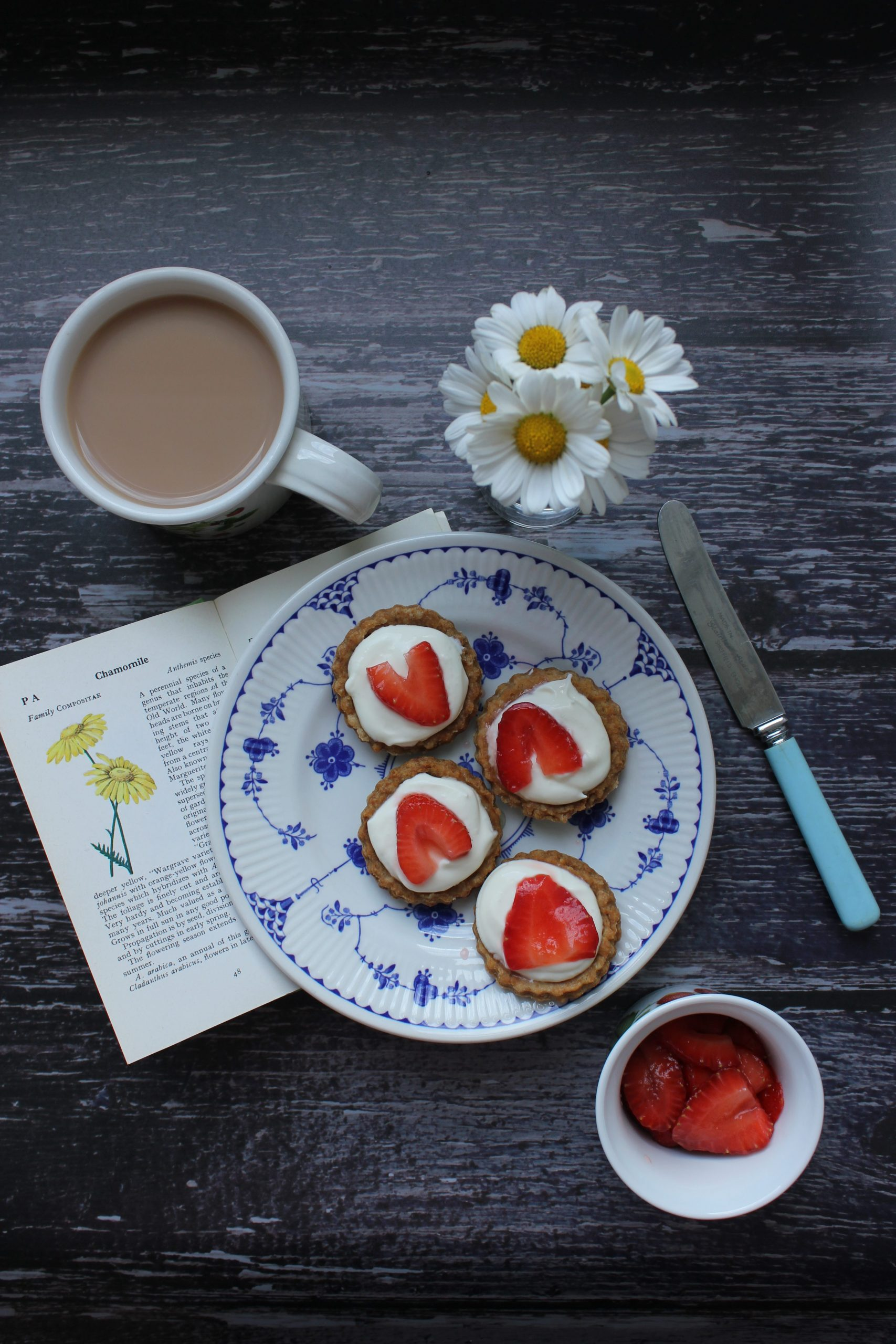 strawberry and elderflower tarts with brown butter pastry