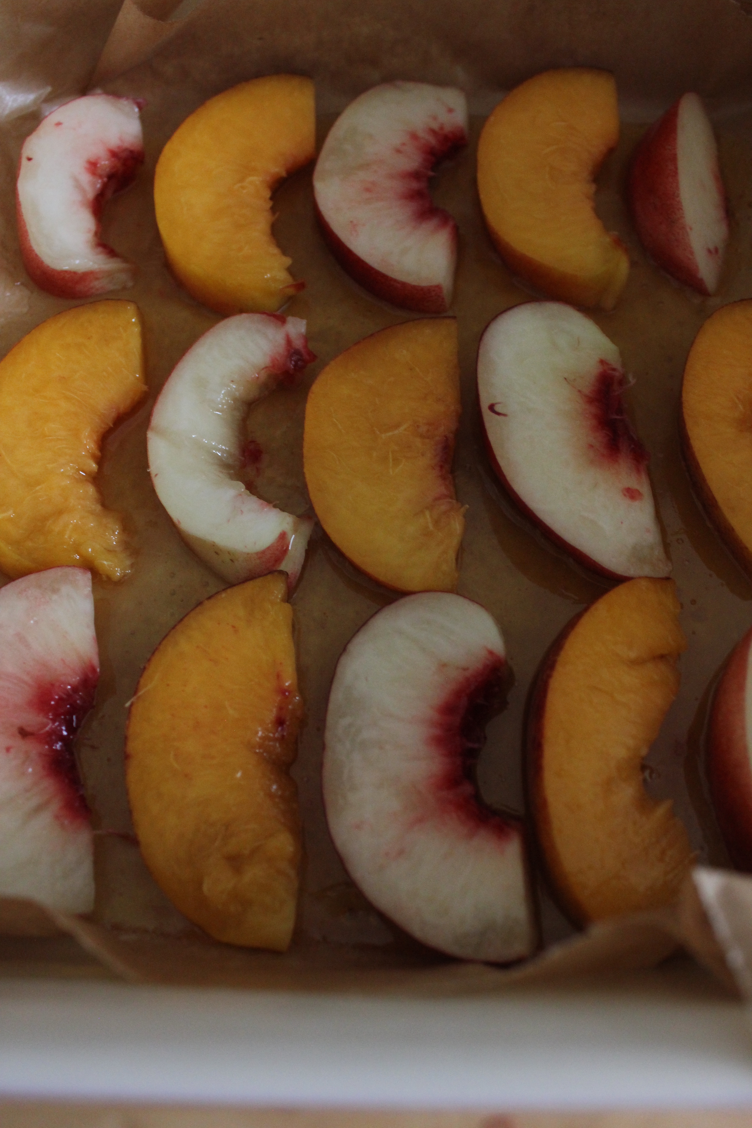 Nectarine upside down cake with salted caramel