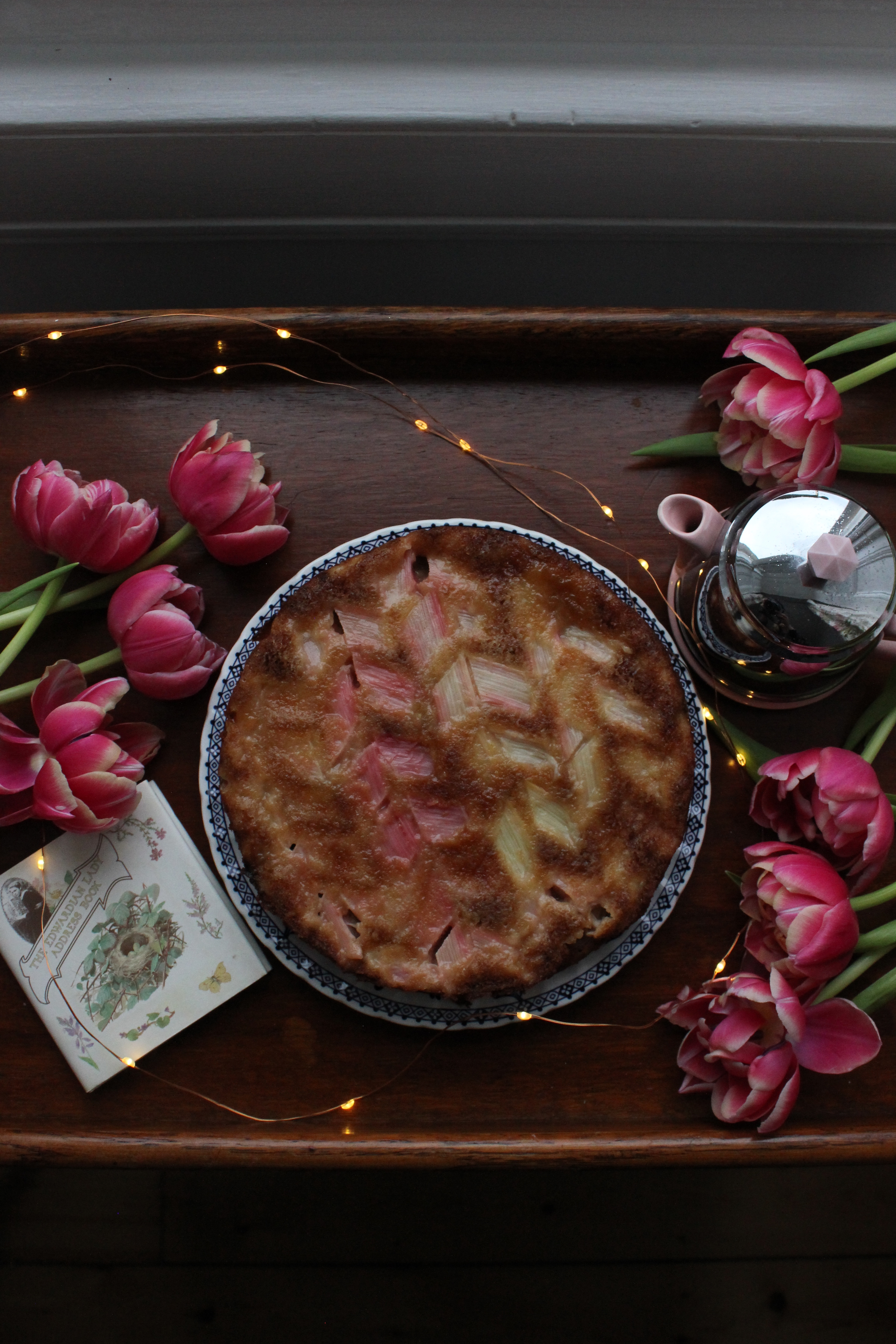Rhubarb, Ginger and White Chocolate Upside-down Cake