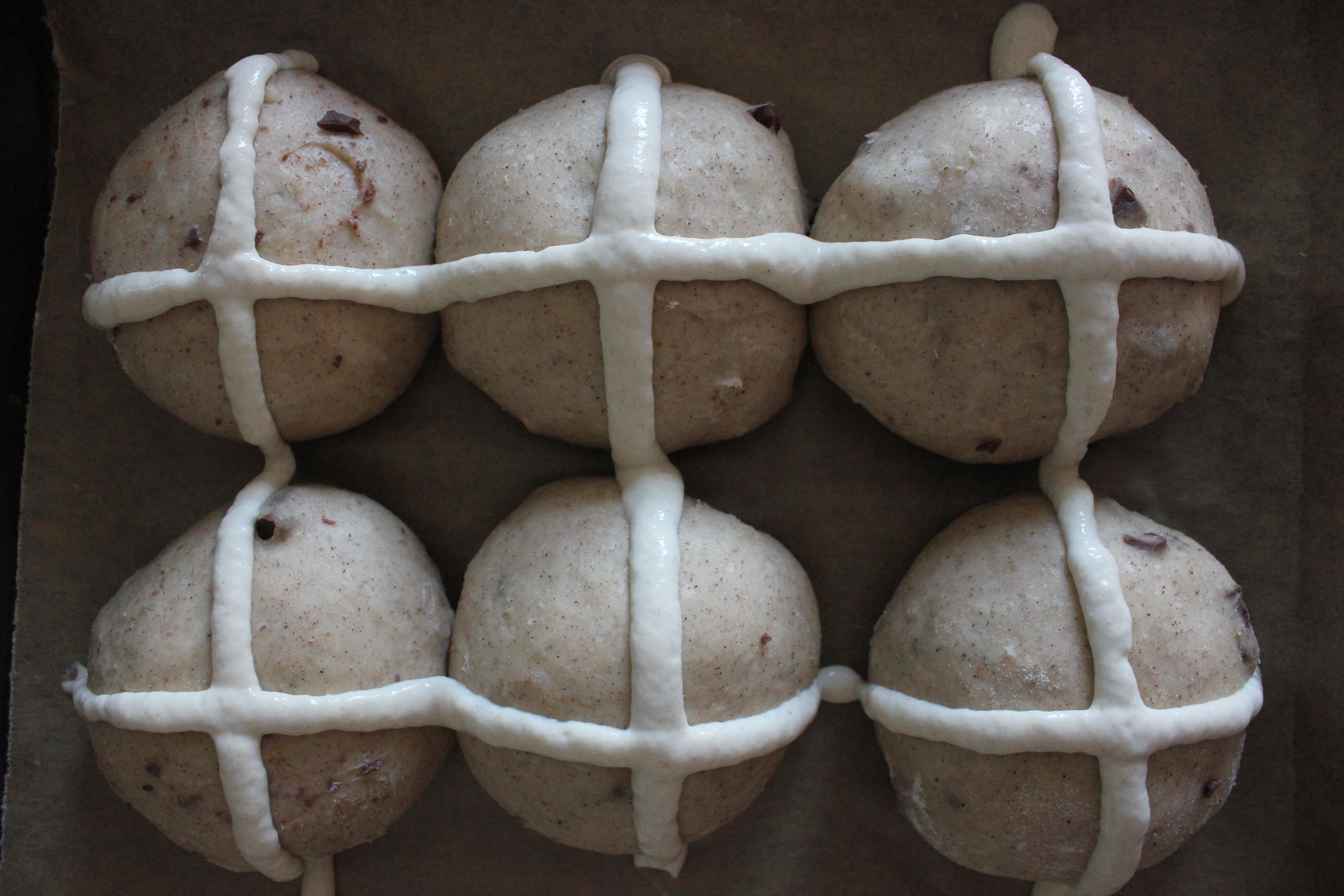 Chocolate and Cardamom Hot Cross Buns