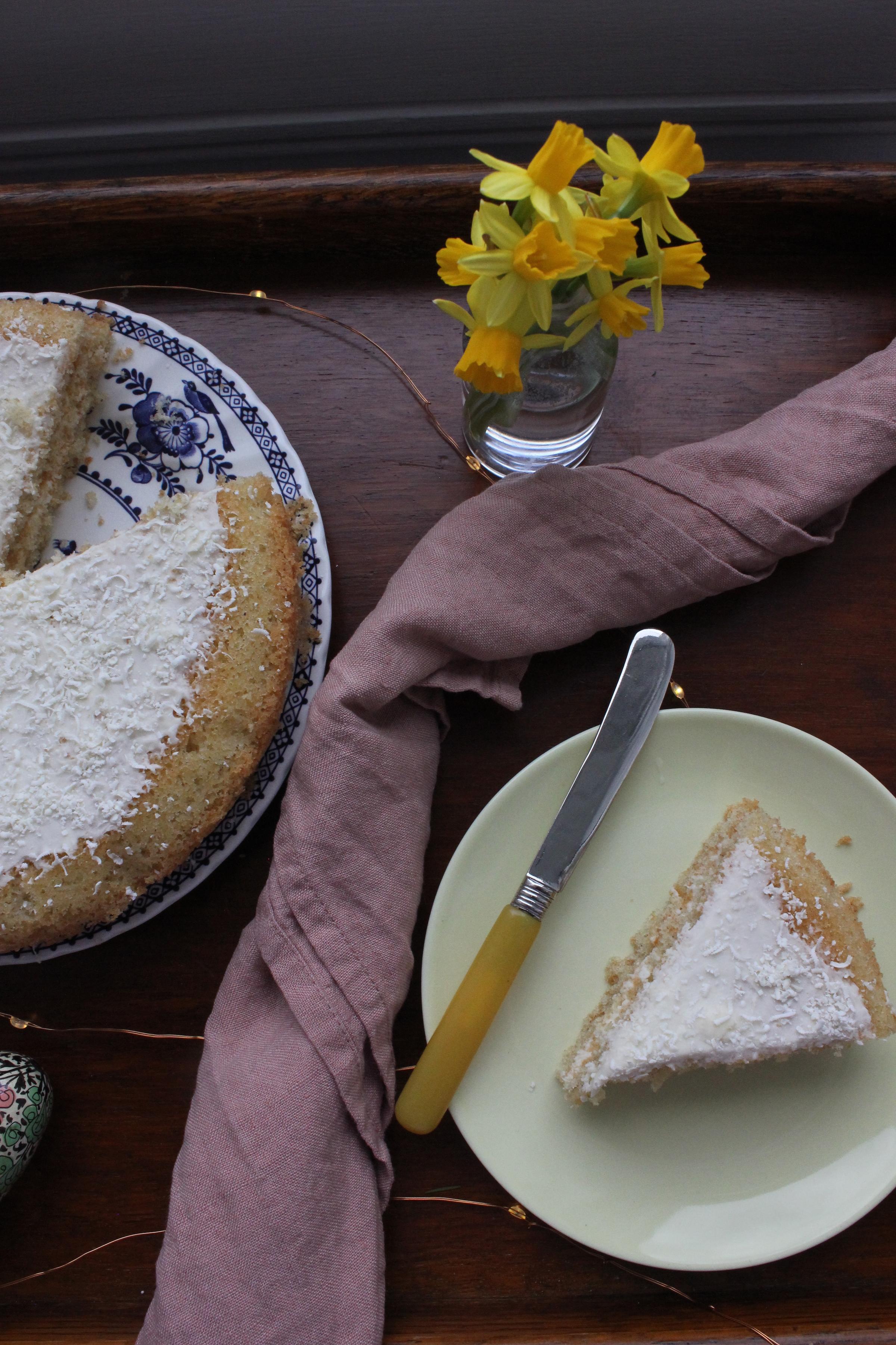White chocolate and cardamom cake