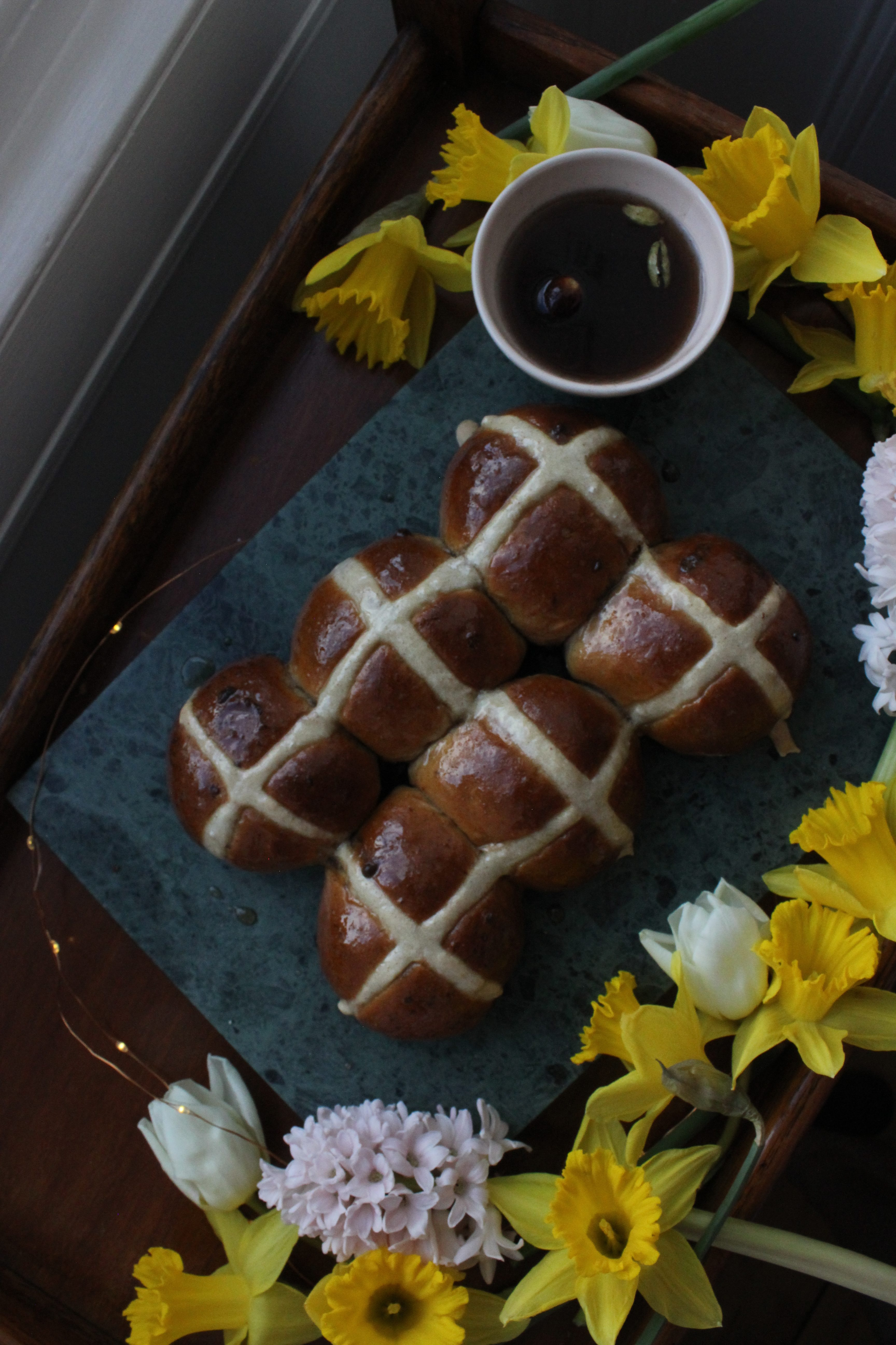 Chocolate and Cardamom Hot Cross Buns