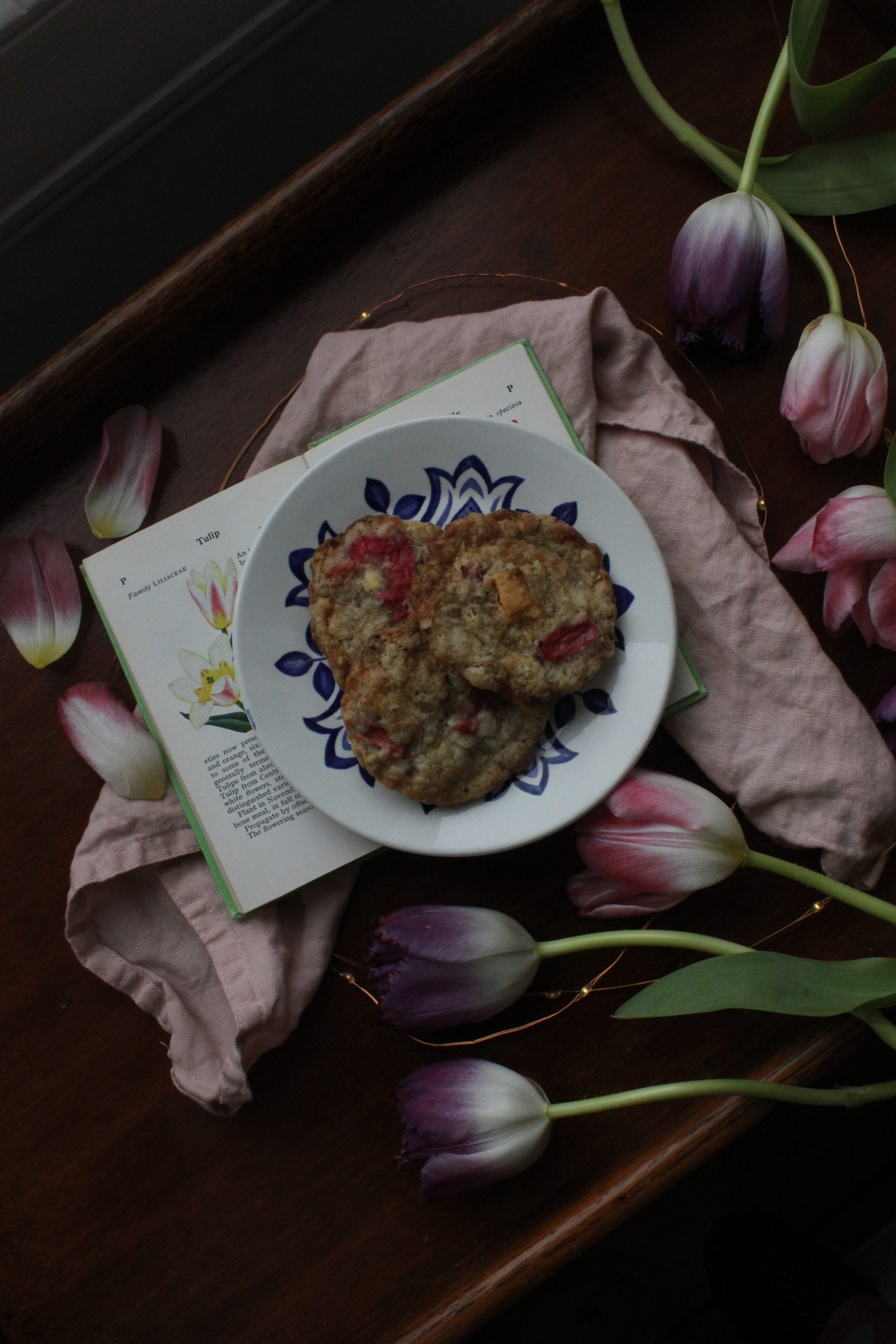 White chocolate, stem ginger and rhubarb cookies