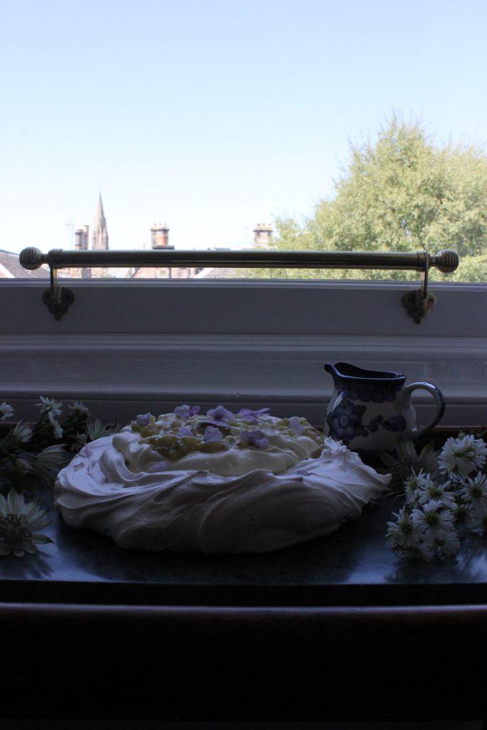 Gooseberry pavlova