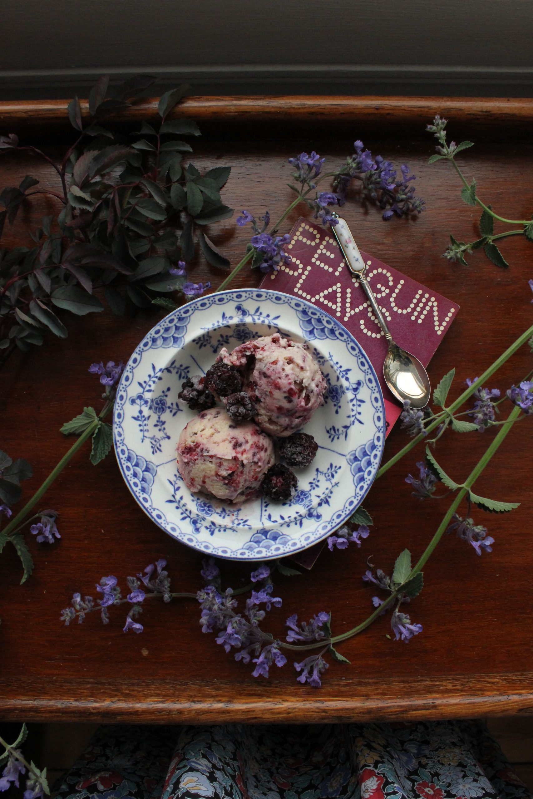 Blackberry and cardamom ice cream