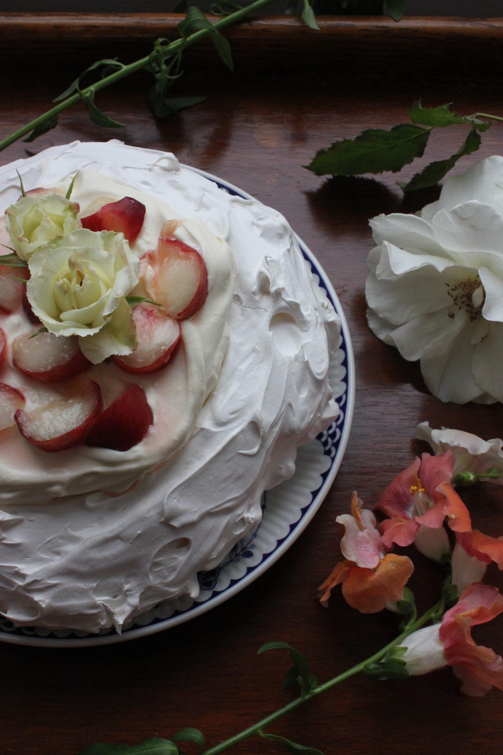Peach and Elderflower Pavlova