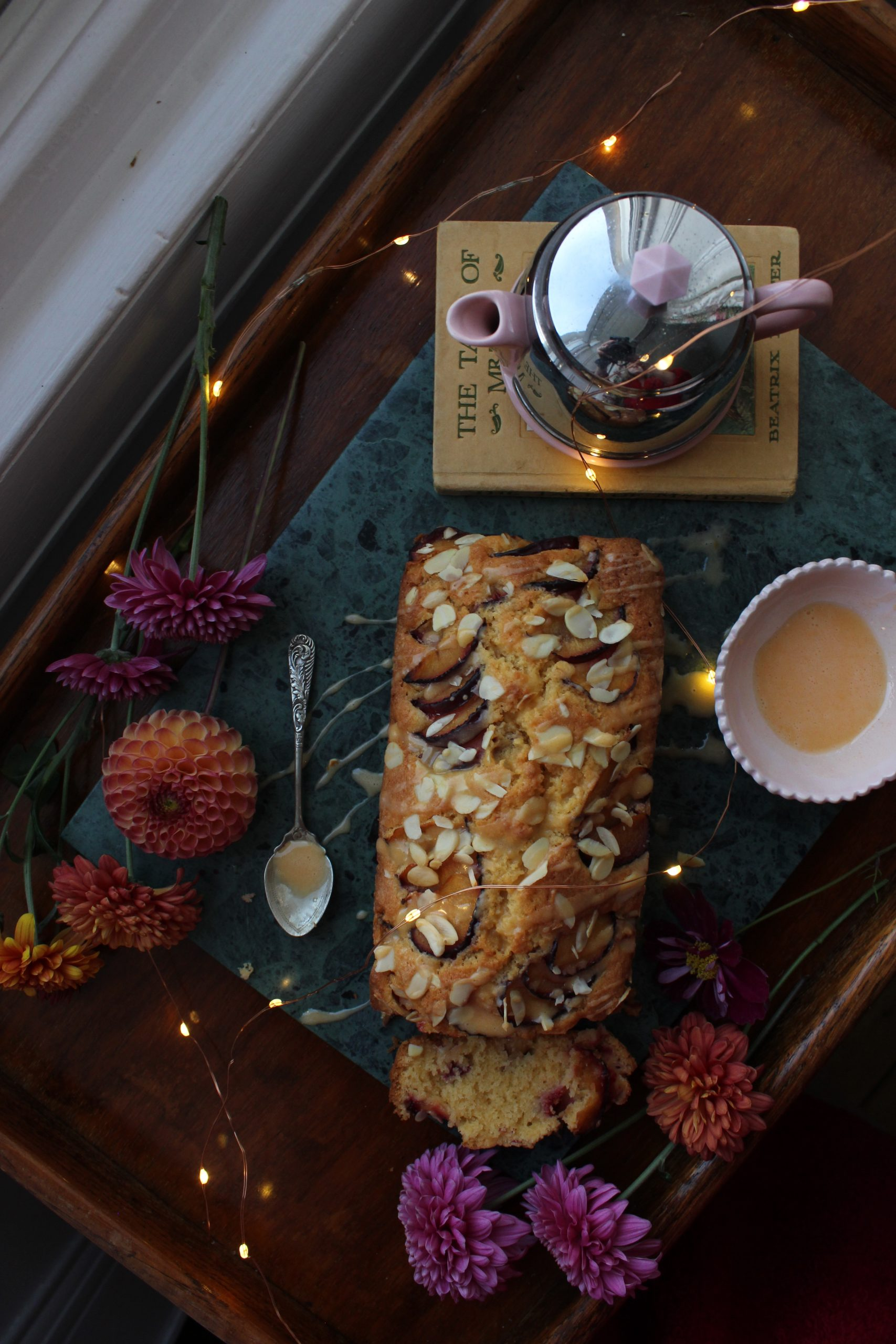 Plum and Custard Loaf Cake