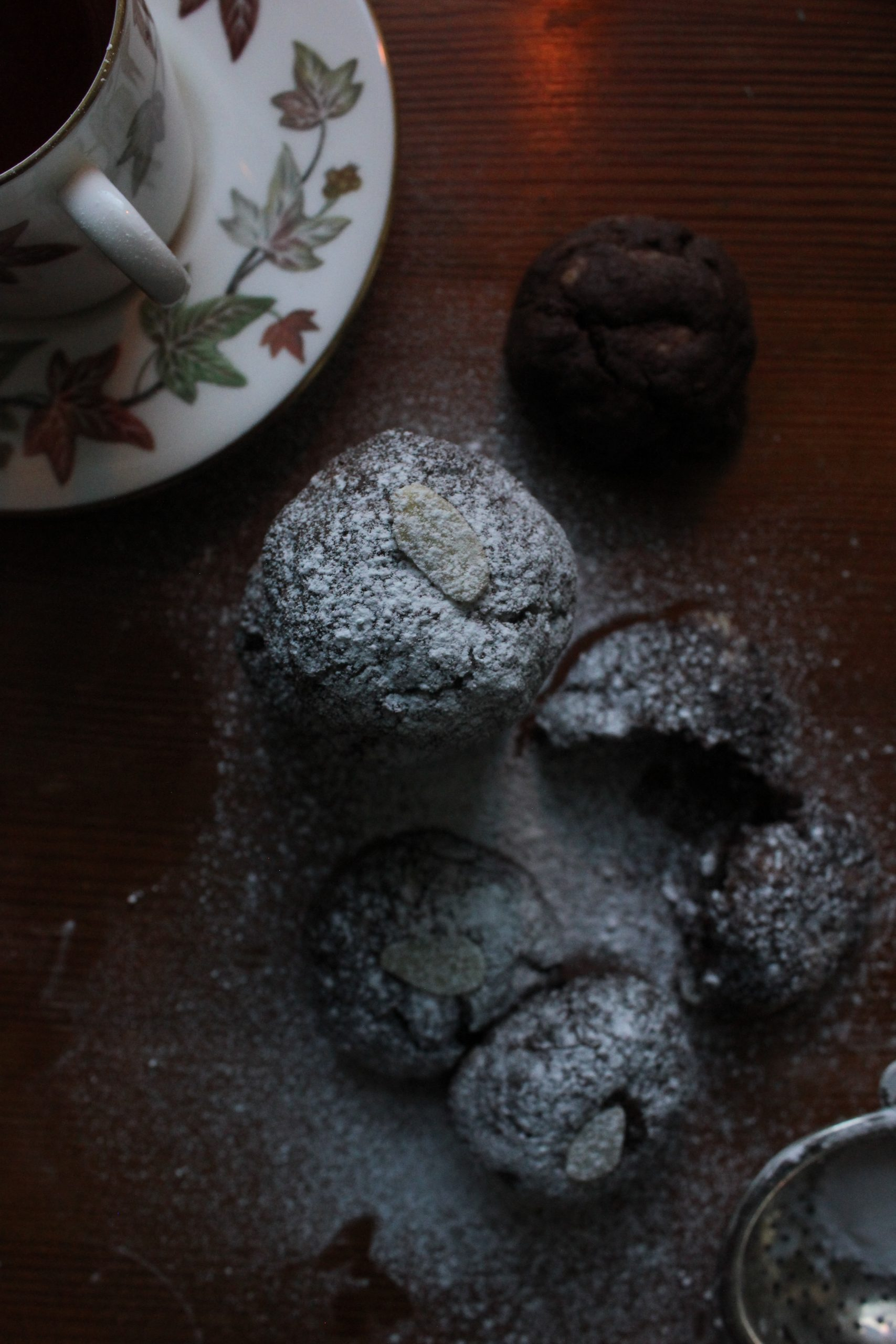 Chocolate and marzipan biscuits