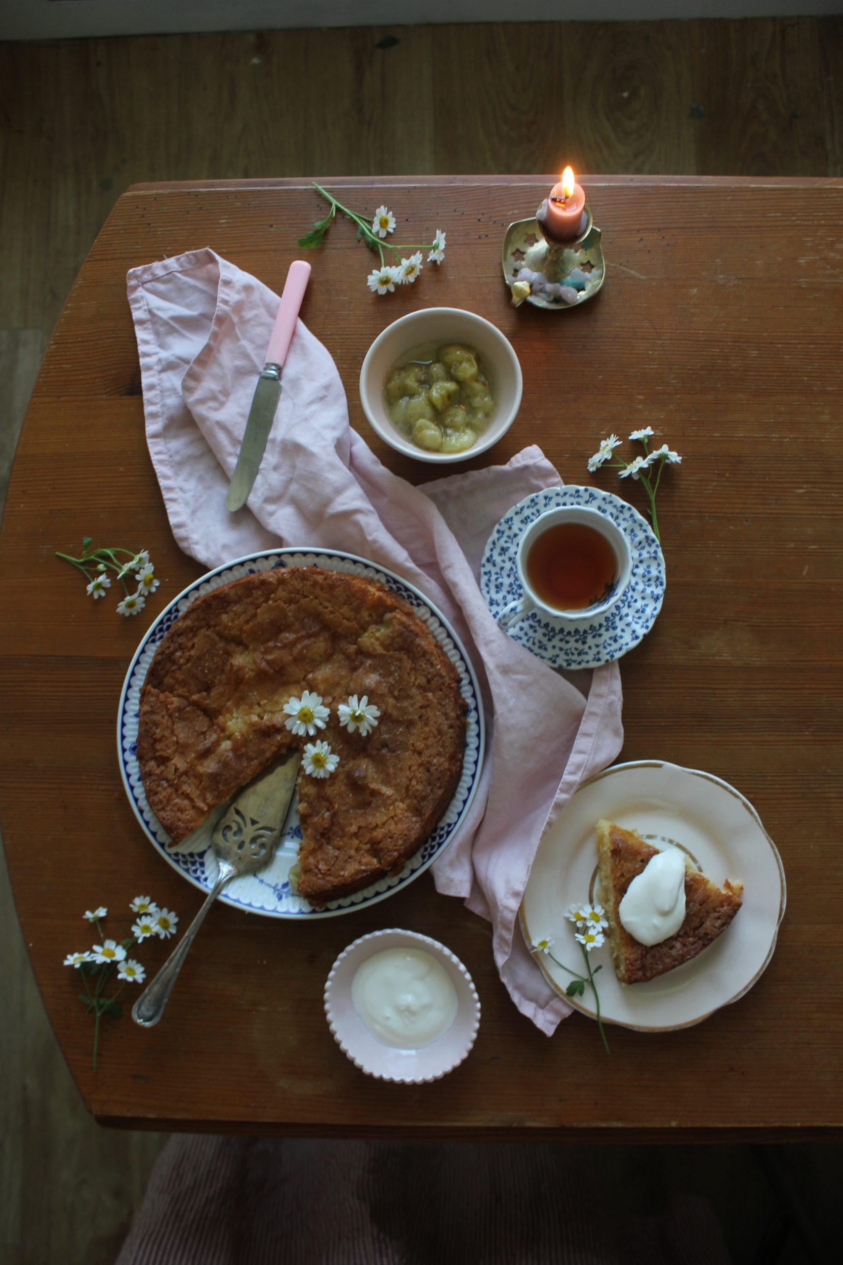 Gooseberry, Ginger and Almond Cake