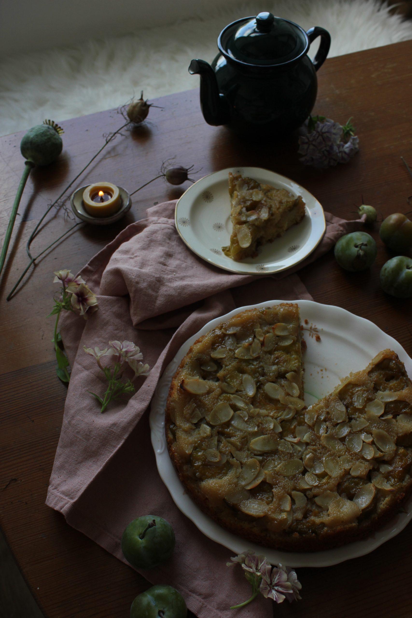 Greengage and Almond Cake